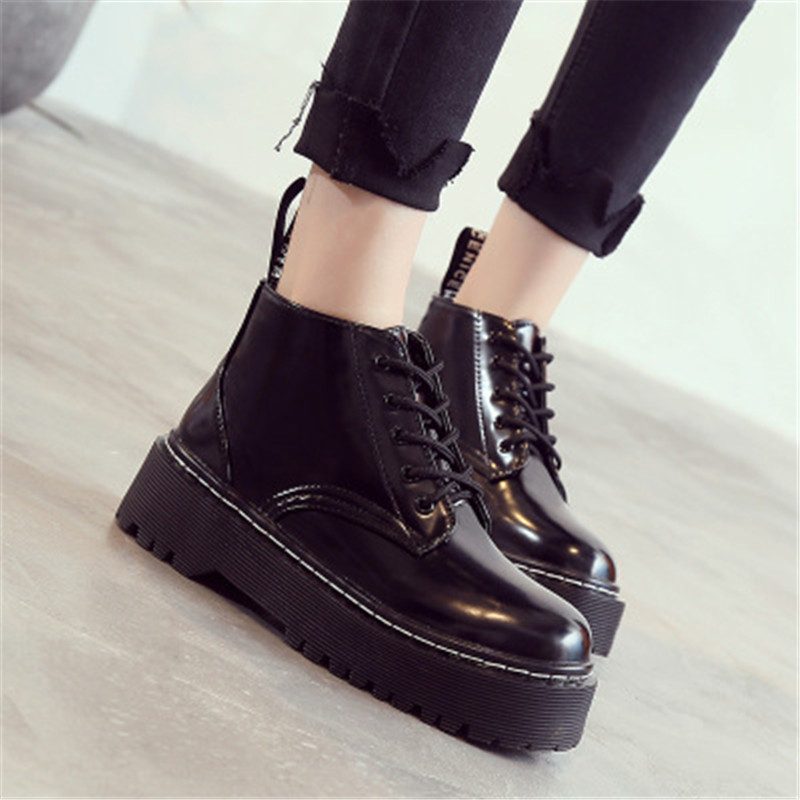 Women/'s Flat Platform Ankle Boots Lace Up Chunky Creepers Fashion Party Footwear