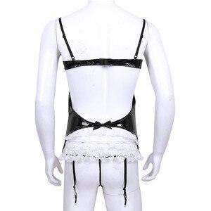Image 2 - Sissy Men Wetlook Lencería de charol para Cosplay, traje de criada, ligas con volantes de encaje, corsé calado en el pecho, G string