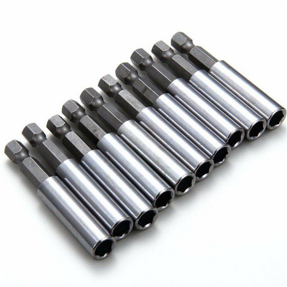 10 шт./компл. 60 мм магнитный удлинитель для шуруповерта держатель наконечников 1/4 дюйма шестигранный адаптер для сверл стандарта серебристог...