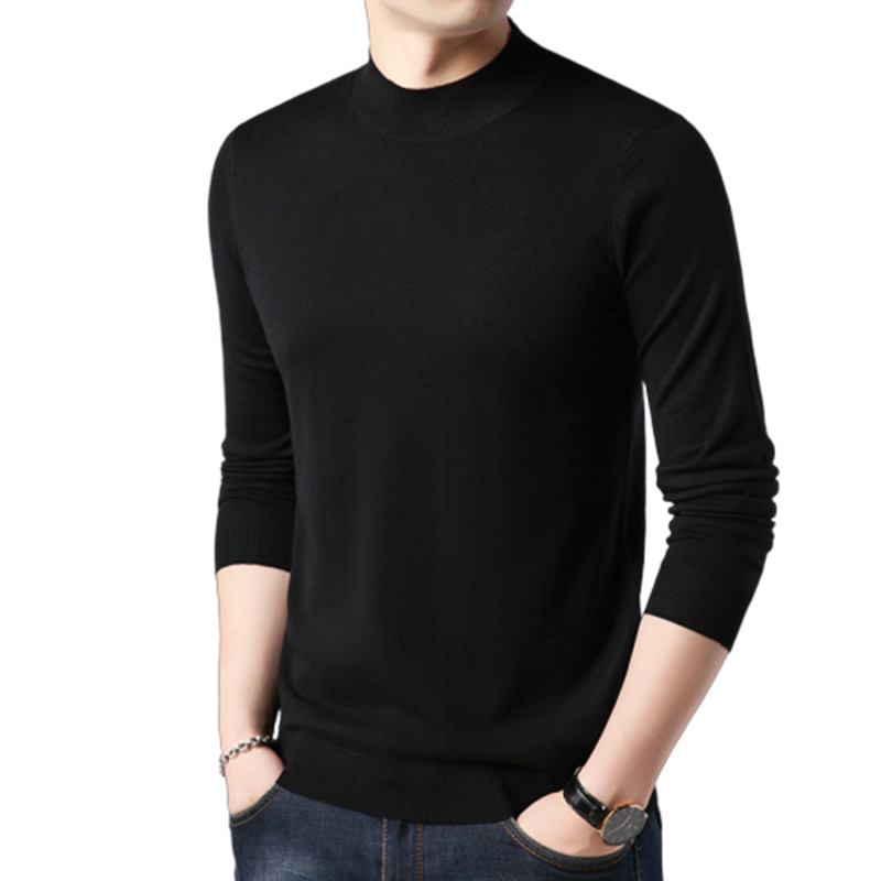 Pullovers Men Sweater Slim-Fit O-Neck Knitting Fashion-Brand New Solid