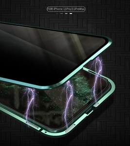 Image 3 - For iPhone 11 Pro Max Case Luxury Magnetic Anti Peeping Front Back Tempered Glass 360 Magnet Antispy Protective Cover Coque