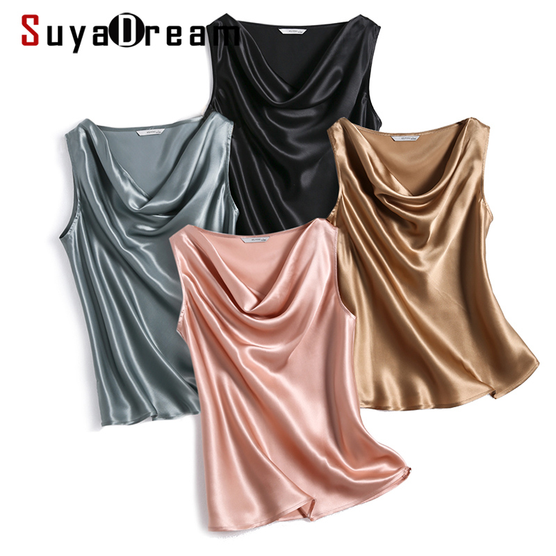 SuyaDream Women Silk Shirt100%Real Silk Satin Draped Collar Sleeveless Tank Tops 2020 Solid Summer Vests