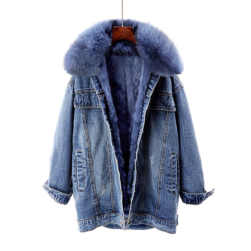Winter Warm fur Coat Natural Fur Collar + Real Rabbit Hair Liner Denim fur Jacket Female retro fur parkas Fur Outerwear F95