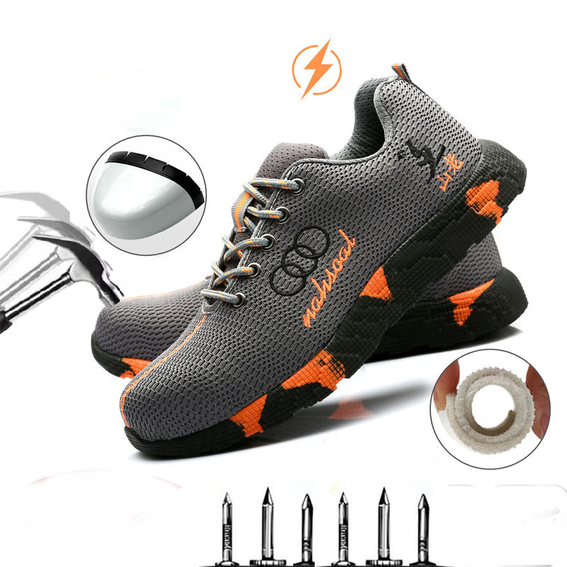 New men's steel head work safety shoes casual breathable outdoor sports shoes anti-puncture boots comfortable industrial shoes