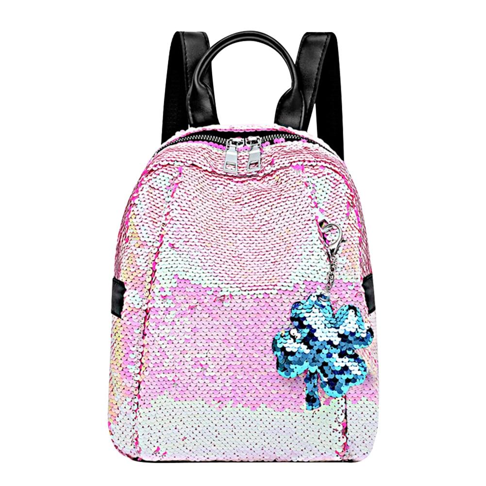 Female Fashion Mini Gradient Sequins Backpacks Pendant Casual Women Girls Kids Shining School Book Shoulder Bags