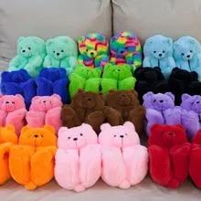 Slippers Shoe Teddy Faux-Fur Bear-House Anti-Slip Plush Warm Fluffy Women Winter Cute