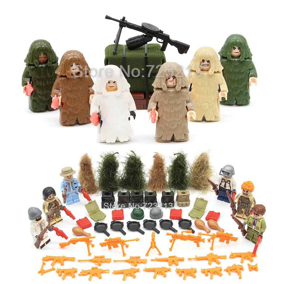 Single Sale Military PUBG Figure With PC Camouflage Suit Parts MOC SWAT Game 100059 Model Building Blocks Brick Combat Toy