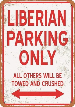 LIBERIAN Parking Only Tin Sign art wall decoration,vintage aluminum retro metal sign image