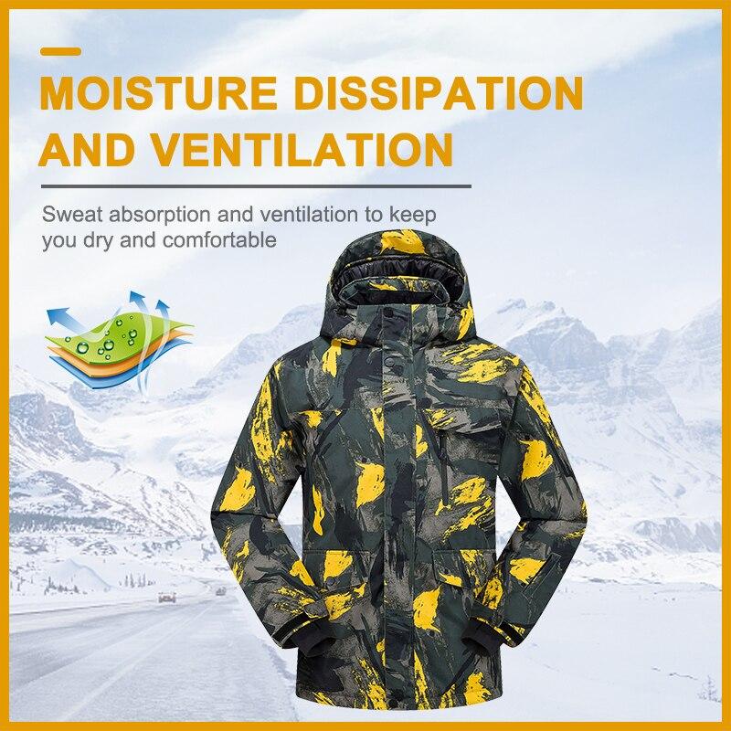 PHMAX мужская зимняя Лыжная куртка, утепленное теплое лыжное пальто, спортивная одежда для сноуборда, ветрозащитная лыжная одежда для катания...