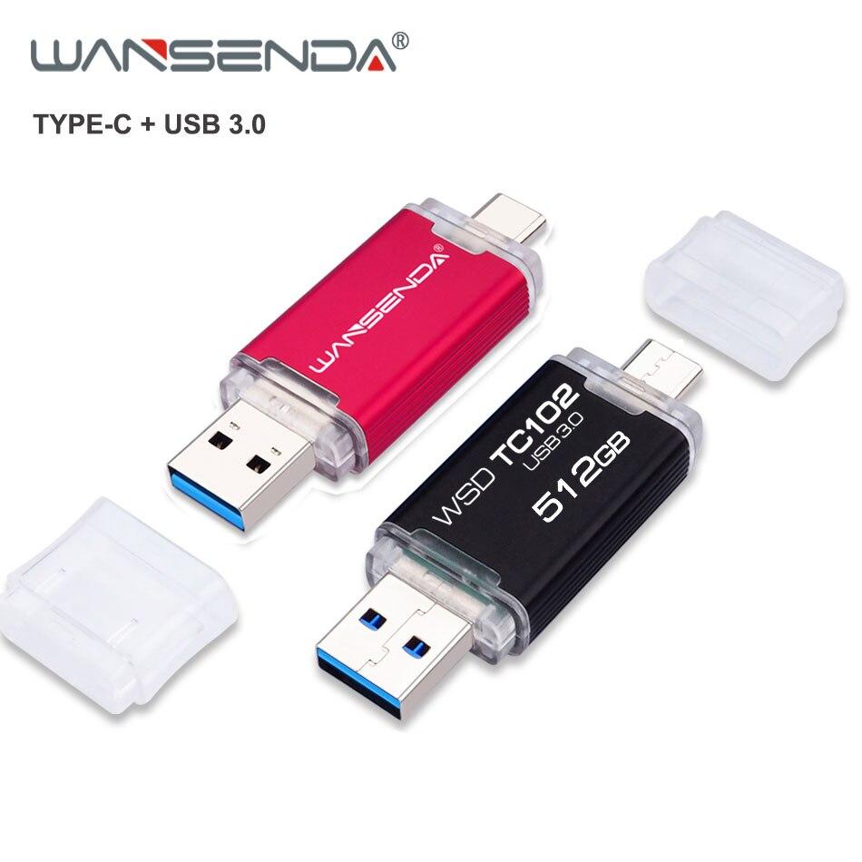 WANSENDA USB 3.0 TYPE C USB Flash Drive OTG Pen Drive 512GB 256GB 128GB 64GB 32GB USB Stick High Speed 2 In 1 Pendrive