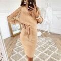 Женское кружевное платье-миди с V-образным вырезом, длинным рукавом и открытой спиной