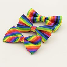 Unisex Male and Female Collar Combined Singing Bridesmaid Wedding Rainbow Striped Bow Show Costume Accessories