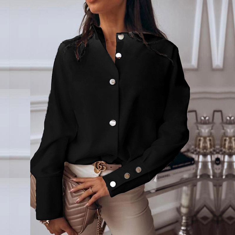 Elegant Blouse Shirt Women Long Sleeve Buttton up Womens Tops and Blouses Feminine Fashion Woman Blouses 2020 Solid Spring Tops