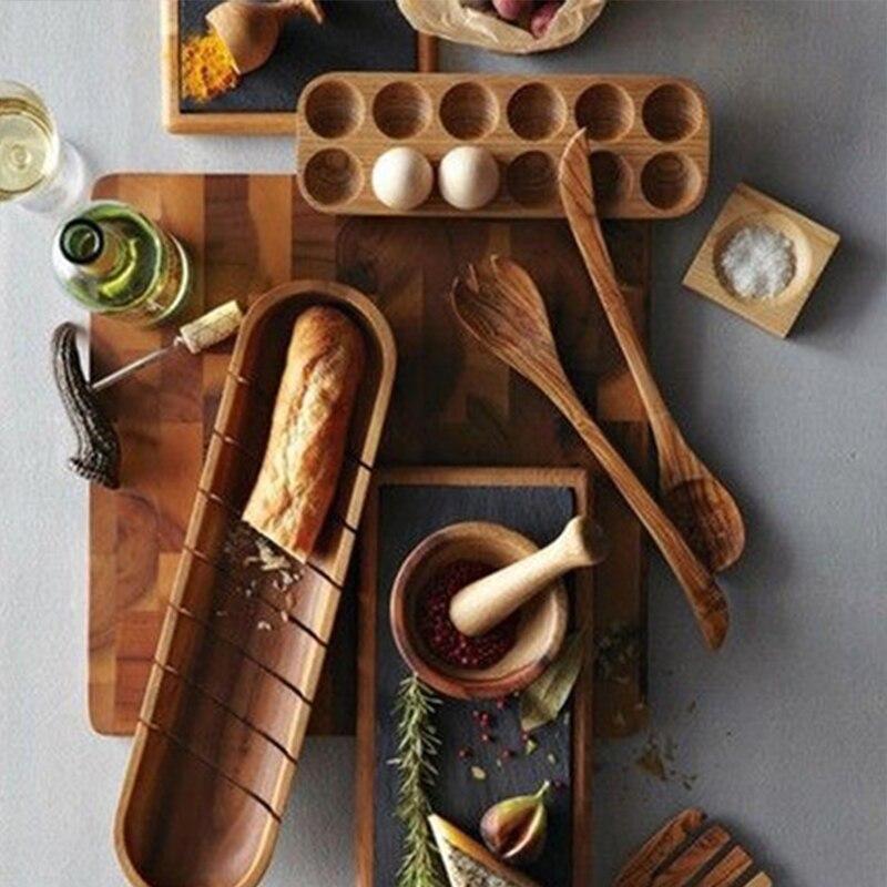 النمط الياباني خشبية صف مزدوج البيض صندوق تخزين منظم منزلي رف البيض حامل اكسسوارات الديكور المطبخ