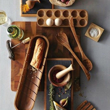 Stile giapponese In Legno Doppia Fila Uovo Scatola di Immagazzinaggio Casa Organizer Rack Uova Cucina Decor Accessori