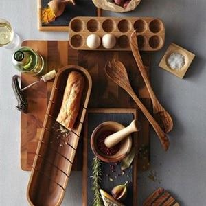Japanese style Wooden Double Row Egg Storage Box Home Organizer Rack Eggs Holder Kitchen Decor Accessories