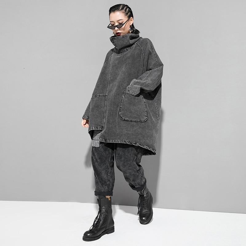 EAM Loose Fit Black Denim Oversized Sweatshirt New High Collar Long Sleeve Women Big Size