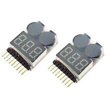 Alarme de tensão da bateria 1s-8s, 1 peça/2 peças (3.7-29.6v) alarme de buzador de bateria