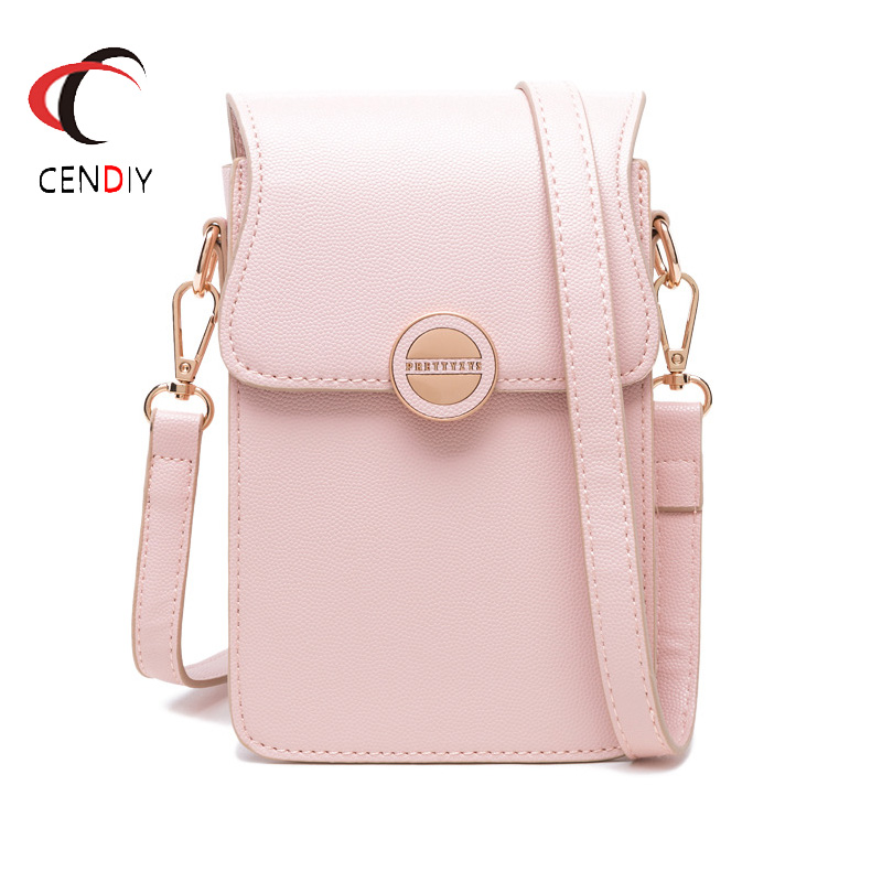 2019 Woman Korean Fashion PU Leather Phone Bag  One Shoulder Multi-function Large Capacity Small Square Wallet