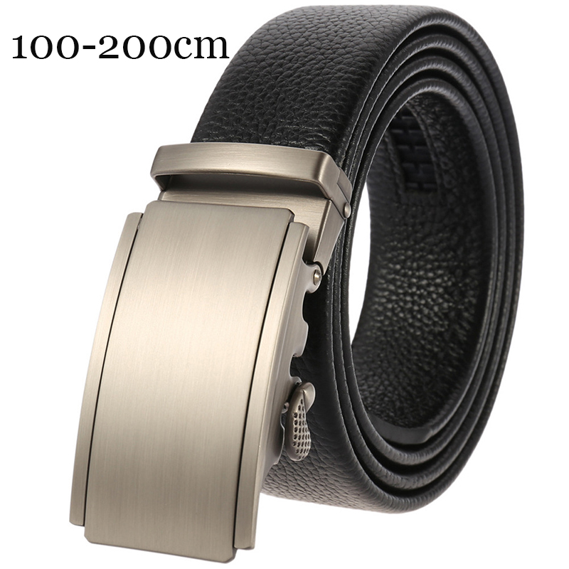 140 160 200cm Black Automatic Buckle Belts For Men Genuine Leather Belt Men Business Trouser Belts For Jeans Men Businessr Strap
