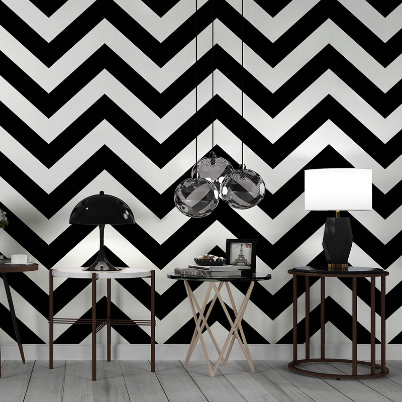 Modern Stripe Black White Wave Textured Exfoliator PVC Wallpaper Livingroom Office