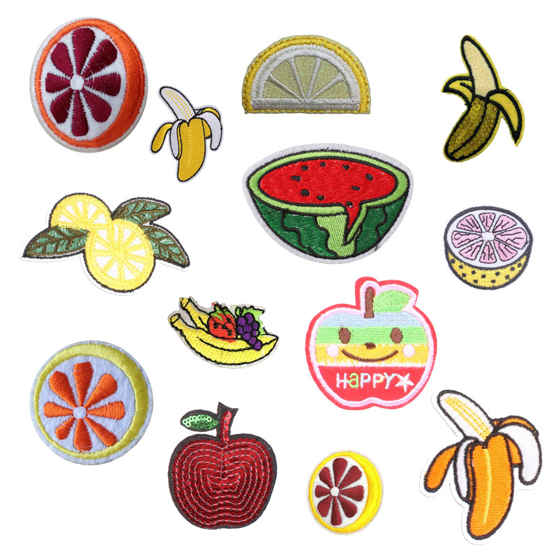 Fruit Lemon Iron on Patches for Clothing Banana Apple Watermelon DIY Embroidery Stripe Clothes Sequin Applique Cloth Fabric
