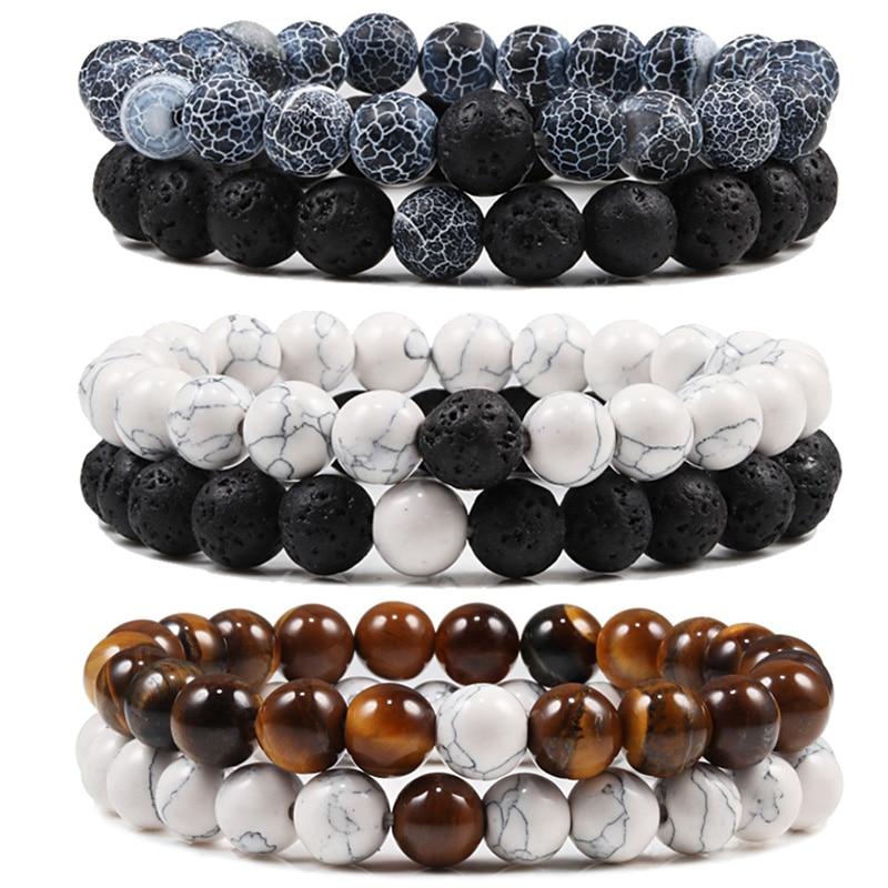 Set bracciale coppie distanza nero bianco pietra lavica naturale occhio di tigre perline braccialetti Yoga per uomo donna gioielli in corda elastica 1