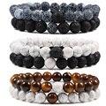 Комплект браслет пары расстояние черный, Белый цвет натуральный лавовый камень тигровый глаз бисерные браслеты для йоги для мужчин и женщи...