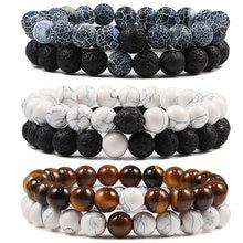 Ensemble de Bracelets de Yoga perlés pour hommes et femmes, en pierre de lave naturelle, noir et blanc, à Distance, œil de tigre, corde élastique, bijoux