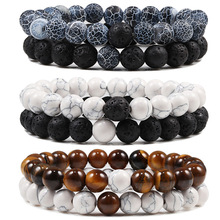 Set Bracelet Rope Jewelry Beaded Couples Lava-Stone Distance Tiger-Eye Elastic Black