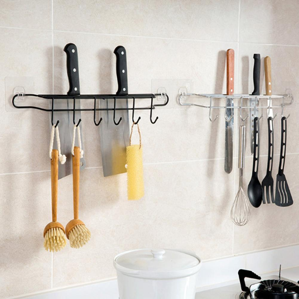 Kitchen Storage Rack Knife Spoon Egg Beater Holder Wall Mount Hooks Organizer Wall Mounted Kitchen Racks Kitchen Accessories