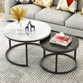 2 in 1 Living Room Coffee Tables wooden combination furniture round Two-tone Tea table adjustable sturdy Storage table mx9071101