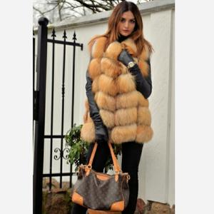 Image 5 - Womens new red fox fur vest natural fox fur real fox fur short vest casual fashion warm autumn and winter European street style