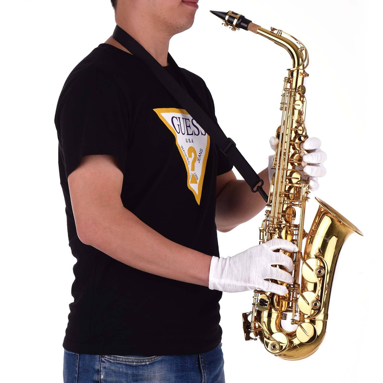 Muslady Golden Eb Altsaxofoon Sax Messing Body Wit Shell Toetsen Houtblazers Instrument Met Carry Case Handschoenen Reinigingsdoekje Borstel - 4