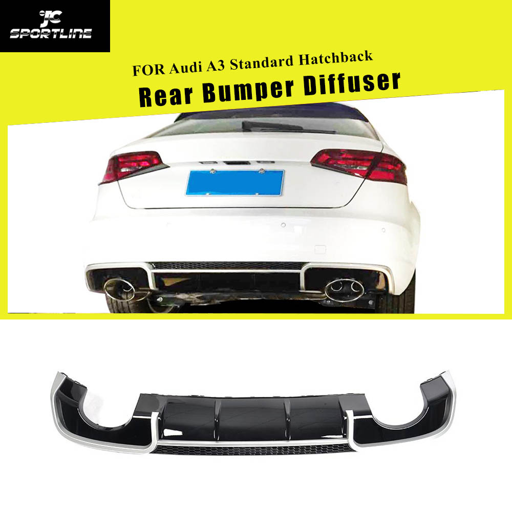 Black FRP Car Racing <font><b>Rear</b></font> <font><b>Diffuser</b></font> Lip Spoiler for <font><b>Audi</b></font> <font><b>A3</b></font> Standard Sedan Hatchback 2014 - <font><b>2016</b></font> 4 Door 8V Non Sline Four outlet image