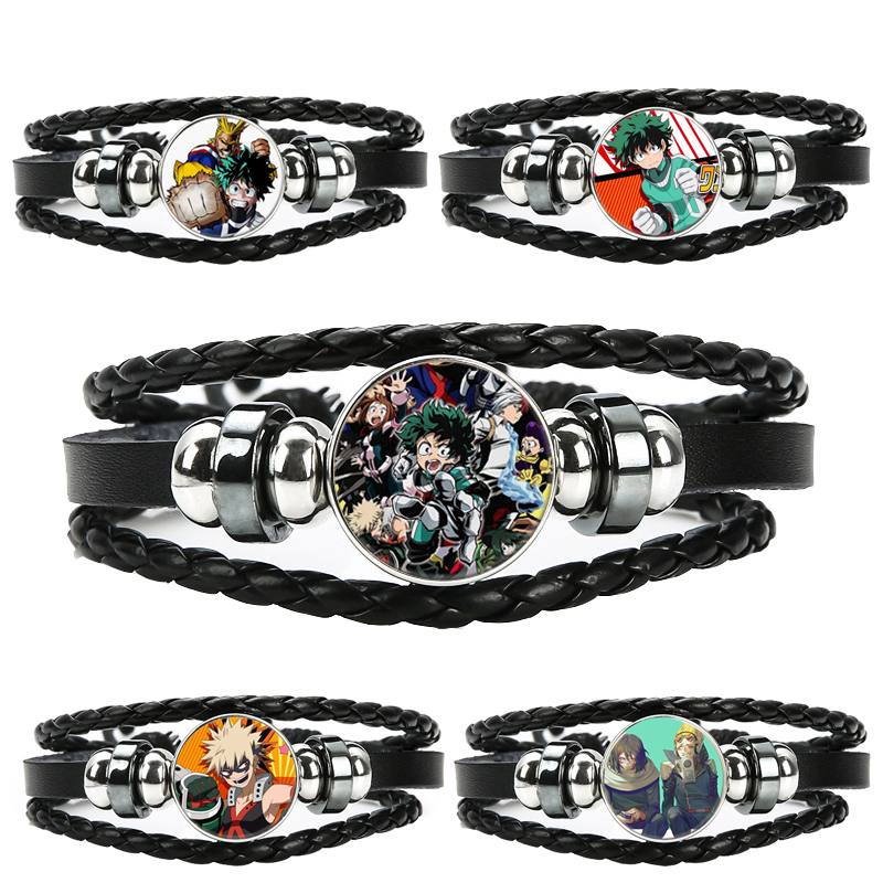 Anime My Hero Academia Bracelet Multilayer Leather Glass Wristband Action Figure Toy For Children Boys Men Hobby Collective