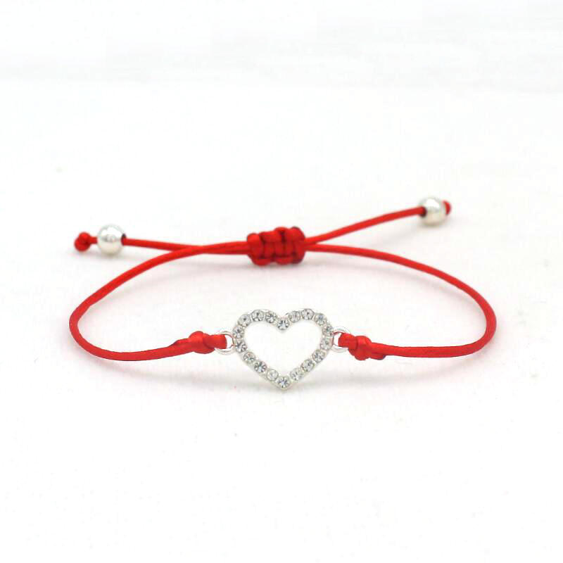 Cute Bear Brand Inlay Crystal Silver Color Heart Bracelet Charm Lucky Red String Rope Braided Bracelets For Women Jewelry Gift