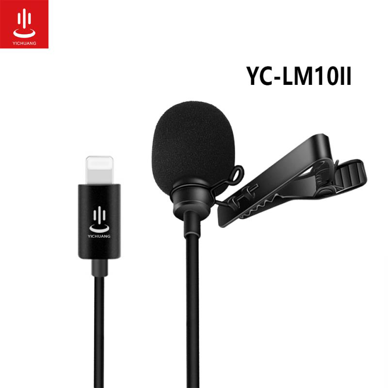 Lapel Microphone YC-LM10 II Clip-on Shirt Collar Microphone Handsfree 1.5M Lightning Plug for iPhone iPad