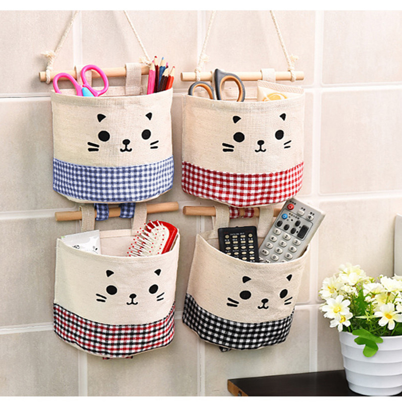 Home Cotton Storage Bag Creative Wardrobe Hang Bag Wall Pouch Cosmetic Toys Organize Pockets Stationery Contain for Room GHMY