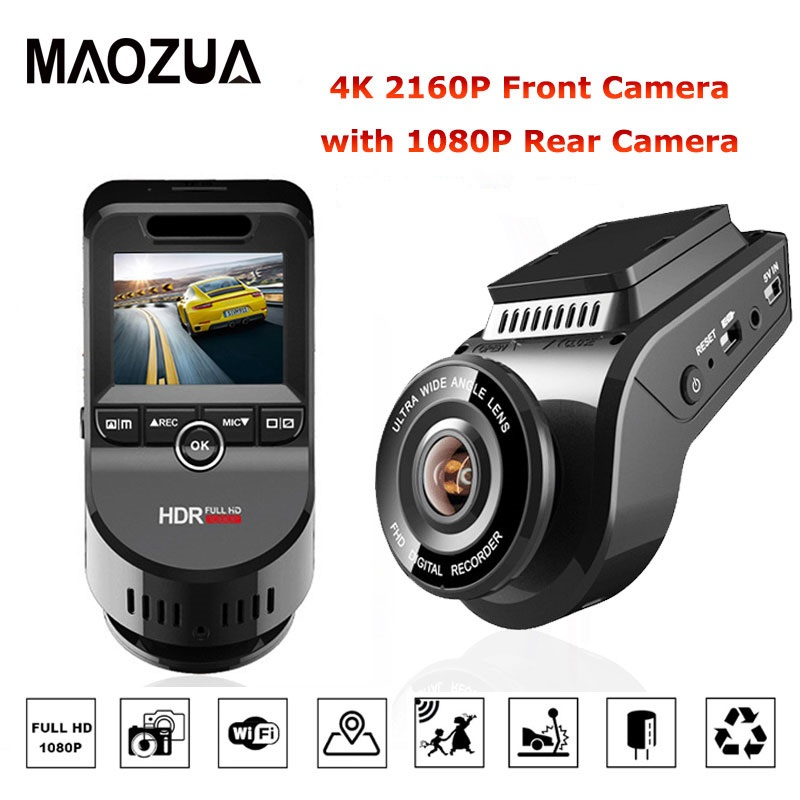 2 Inch Car DVR Night Vision Dash Cam 4K 2160P Front Camera with 1080P Car Rear Camera Recorder Video Support GPS/WIFI Car Camera