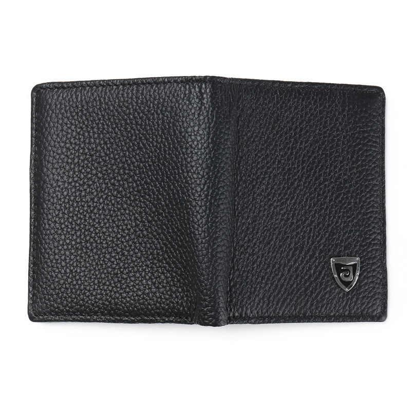 Jinbaolai carteiras masculinas, nome fino, de couro genuíno, porta-cartão de identificação, clássico