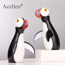 Nordic Decorative Puffin Handmade Wooden Figurine Bedroom Living Room Home Decoration Accessories Ornaments Holiday Gift Toys puffin peter
