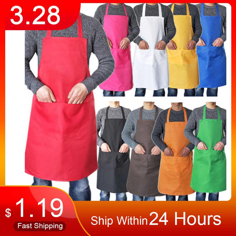 טהור צבע בישול סינר לאישה גברים מטבח לעבות ביתי ניקוי סינר כותנה פוליאסטר עם כיס כפול Dropshiping