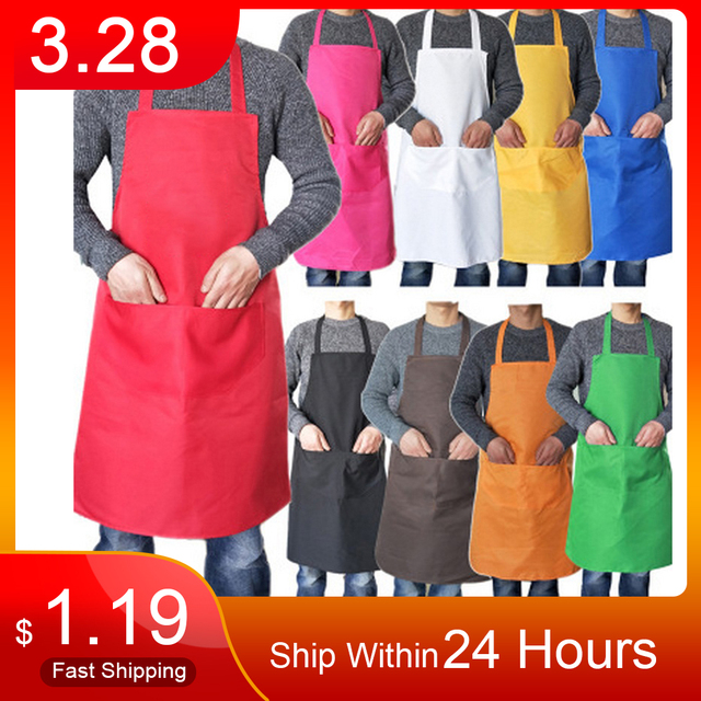 Pure color Cooking Apron For Woman Men Kitchen Thicken Household Cleaning Apron Cotton Polyester with Double Pocket Dropshiping