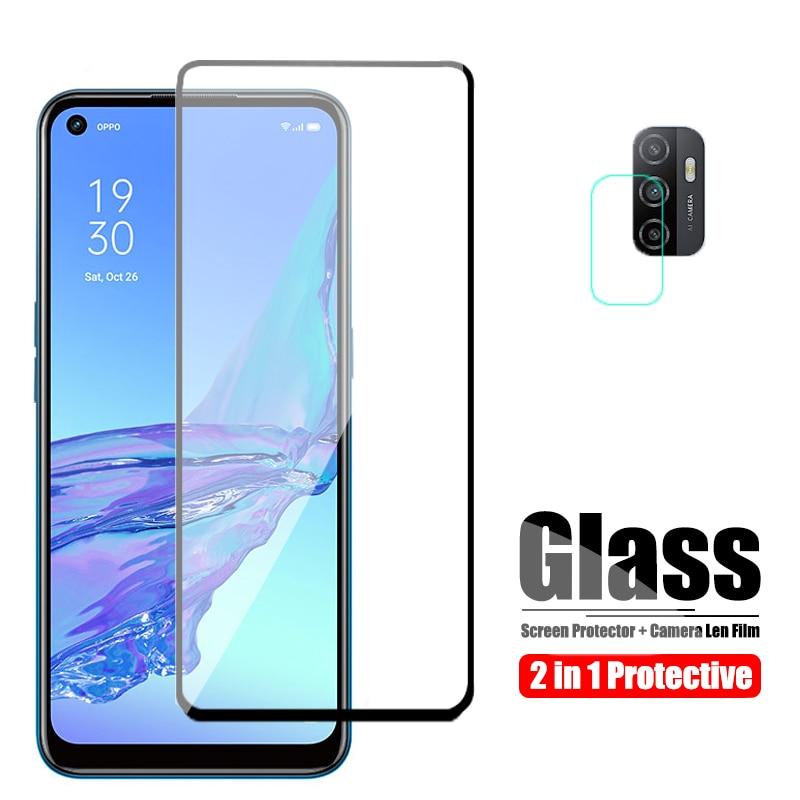 Защитное стекло для Oppo A53 Для Oppo A52, Защитное стекло для экрана и объектива камеры, стекло OppoA53, защитная пленка HD, Черная