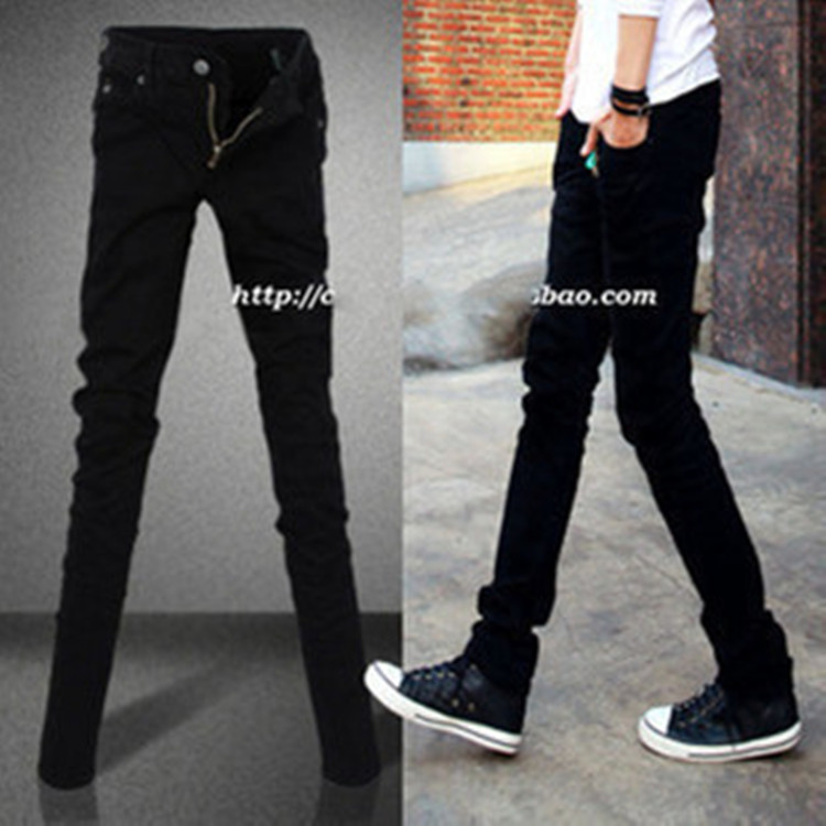 Spring And Autumn Men Pure Black Jeans Men's Korean-style Slim Fit Skinny Pants Men's Elasticity Solid Color Pencil Pants