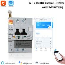 Tuya Smart Life APP RCBO Circuit Breaker with Power Monitoring 2P WiFi RCBO MCB Leakage Current  Short Circuit Protection Alexa