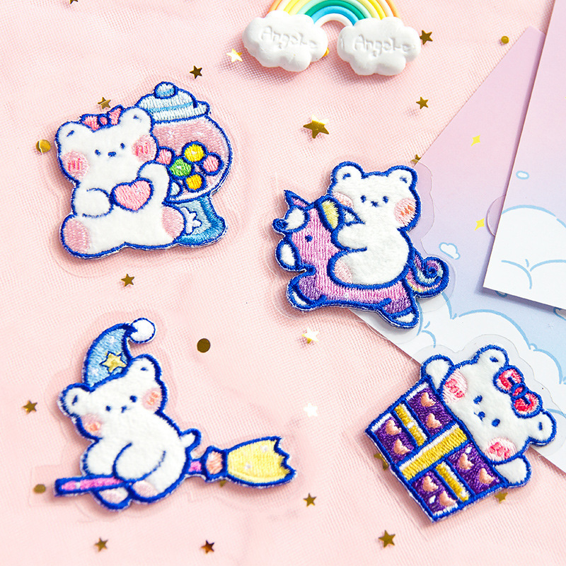Super Cute Magic Bear Lovely Cartoon Cloth Sticky Sticker 1 Piece 2020 New Sweet Lovely Children Stationery Gif