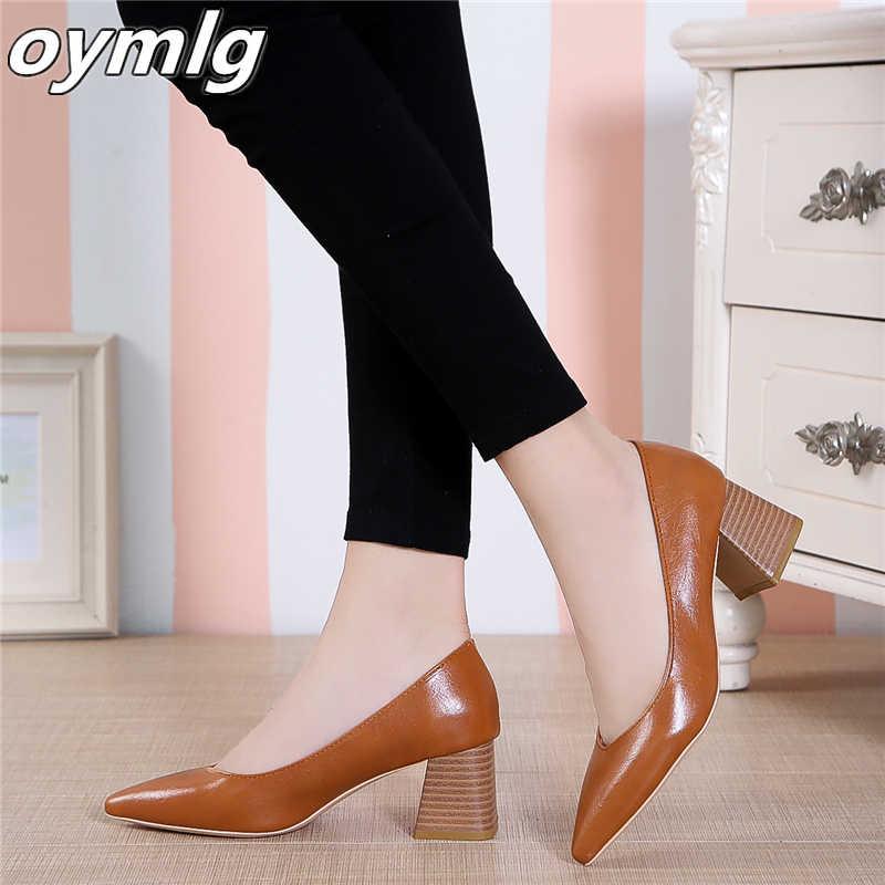 Pompaları avrupa tarzı süresi basit rahat yüksek topuklu 2020 yeni sivri kalın topuk ayakkabı pu tek ayakkabı vahşi kadın ayakkabısı