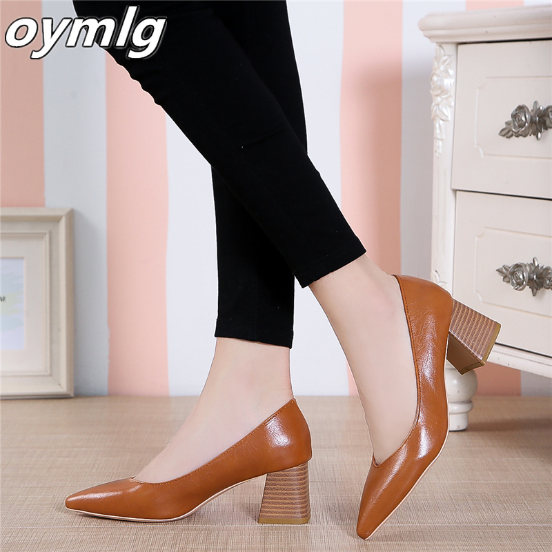 Pumps European Style Time Simple Comfortable High Heels 2020 New Pointed Thick Heel Shoes Pu Single Shoes Wild Women's Shoes